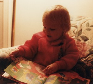 "My daughter, Amanda, reading ""Good Night Moon"" circa 1989"